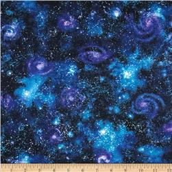 Stargazers Space Dust Dark Nightfall Fabric