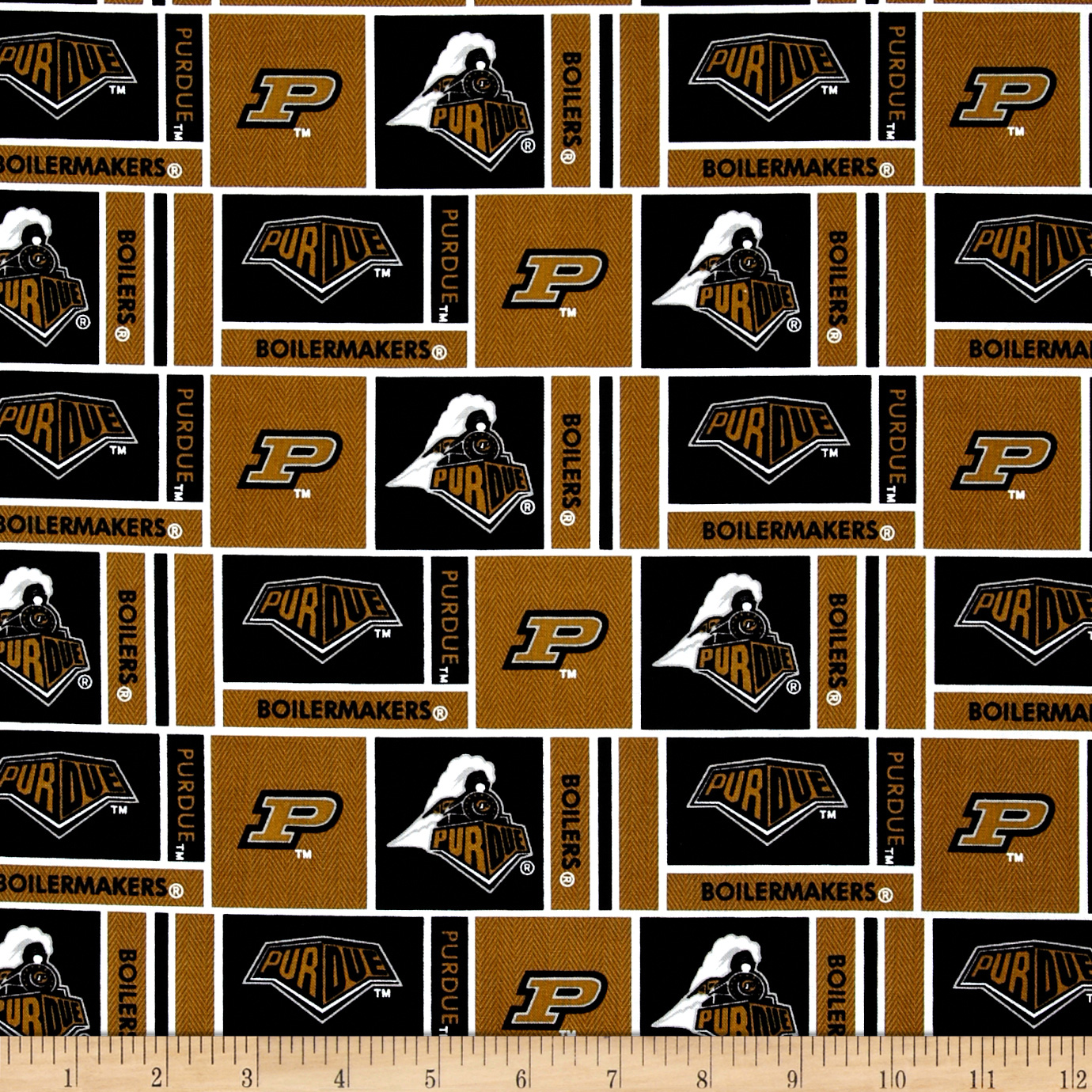 Collegiate Cotton Broadcloth Purdue University Fabric