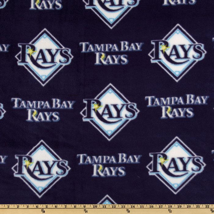 MLB Fleece Tampa Bay Rays Allover Navy/White Fabric By The Yard