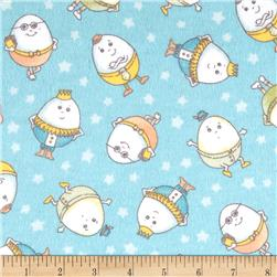 Nursery Rhyme Flannel Humpty Dumpty Day Turquoise Fabric