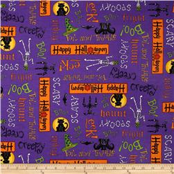 Moda Moonlight Manor Happy Halloween Words Potion Purple