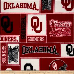 Collegiate Fleece University of Oklahoma Collage Red/White Fabric