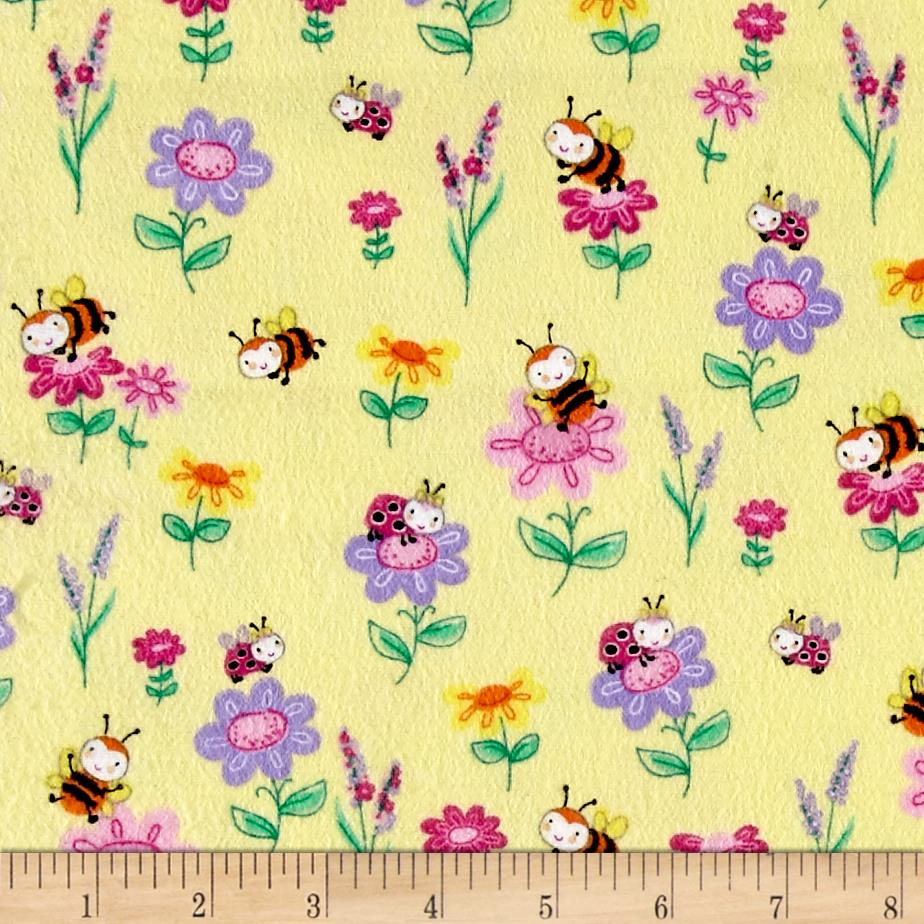 Comfy Flannel Bee's Flowers Yellow Fabric