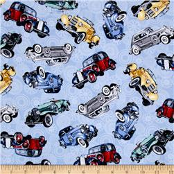 Classic Cottons Classic Cars Allover Blue