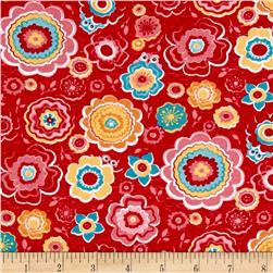 Riley Blake Jersey Knit Tree Party Floral Red