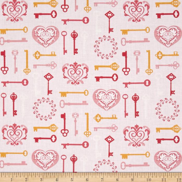 Carina Modern Key to my Heart Pink/White