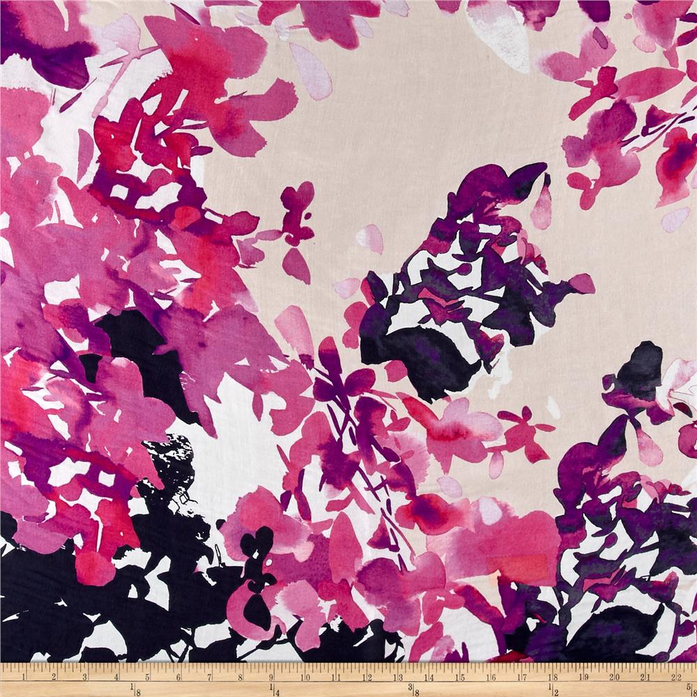 Italian Watercolor Floral Print Silk Chiffon Black/Pink/Purple/White