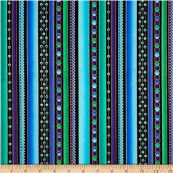 Timeless Treasures Bijoux Metallic Geo Stripe Teal
