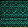 Poly Spandex ITY Knit Ikat Green/Black