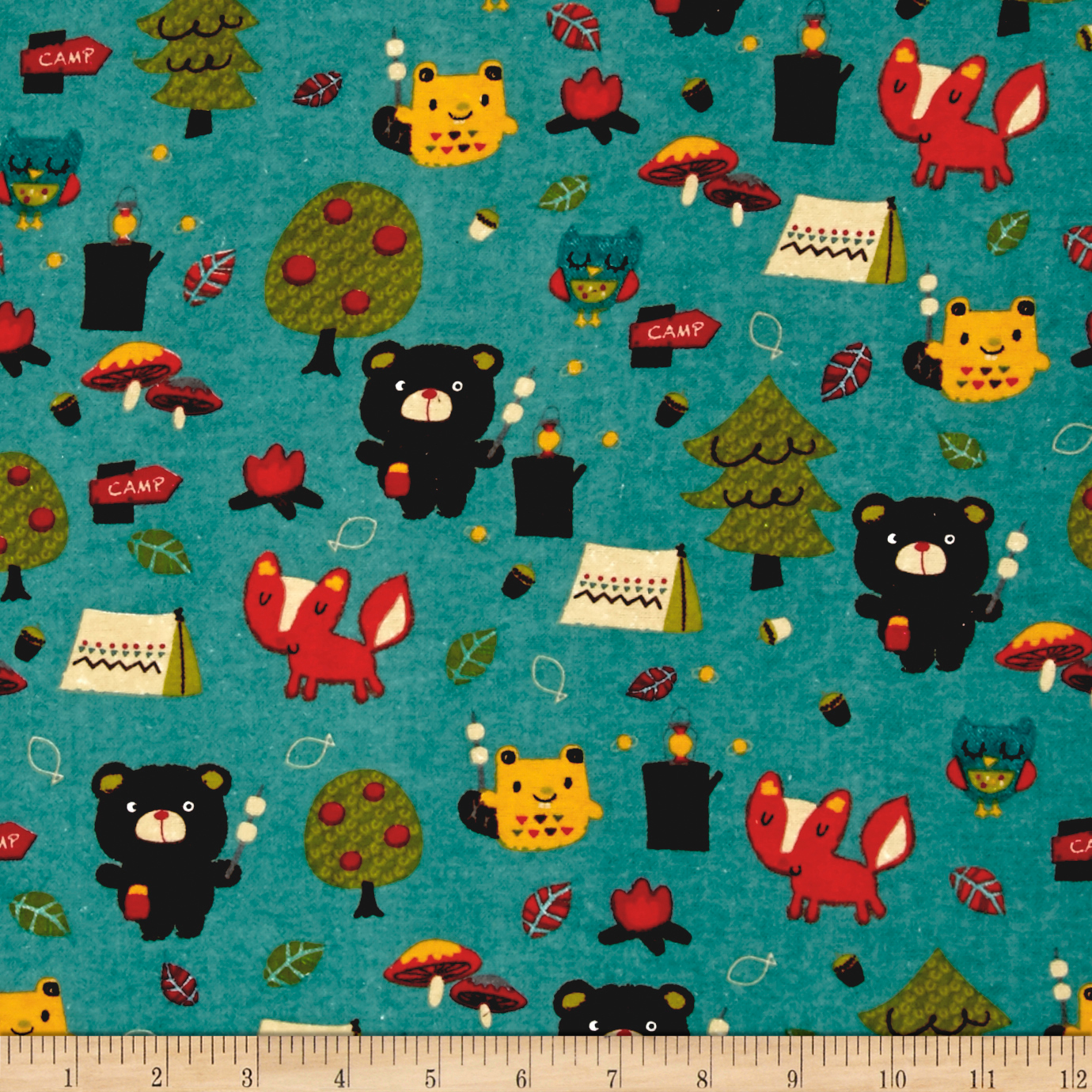 Alpine Flannel Bear Country Teal Fabric by Christensen in USA