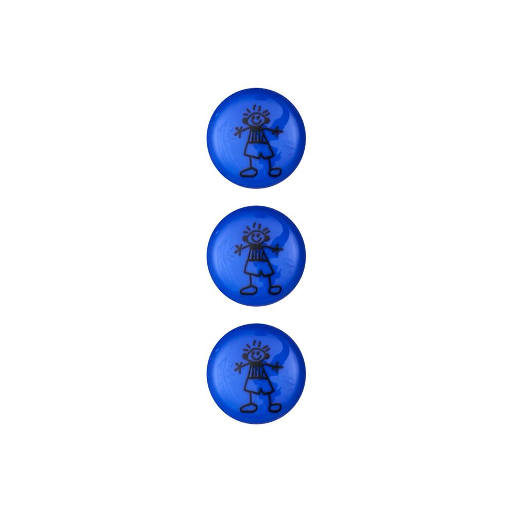 Dill Novelty Button 5/8'' Children's Drawing Royal Blue