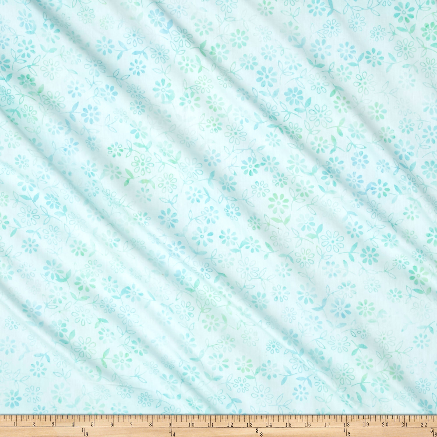 Anthology Batik Floral Pastel Aqua Fabric 0528440