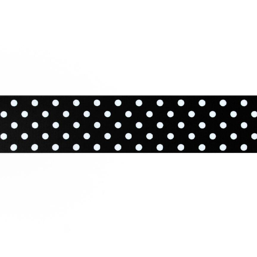 "1.5"" Grosgrain Polka Dots Black/White"