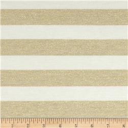 Striped Shimmer Sweater Knit Tan/Cream/Gold