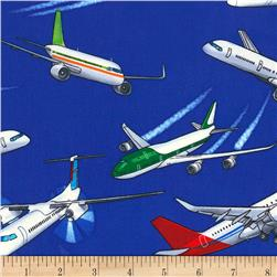 Timeless Treasures Commercial Planes Blue
