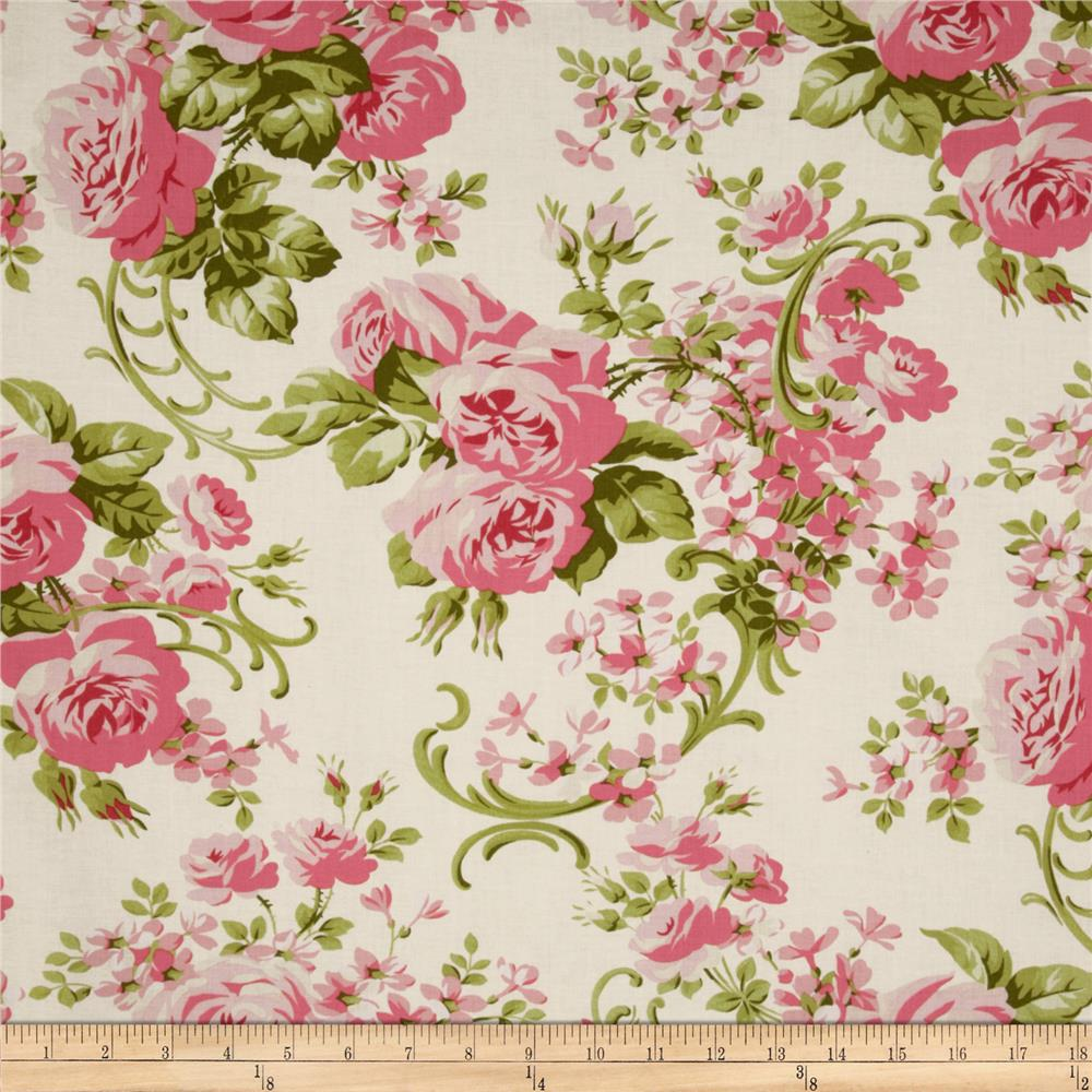 Fabric With Pink Roses Cabbage Rose Print Fabric