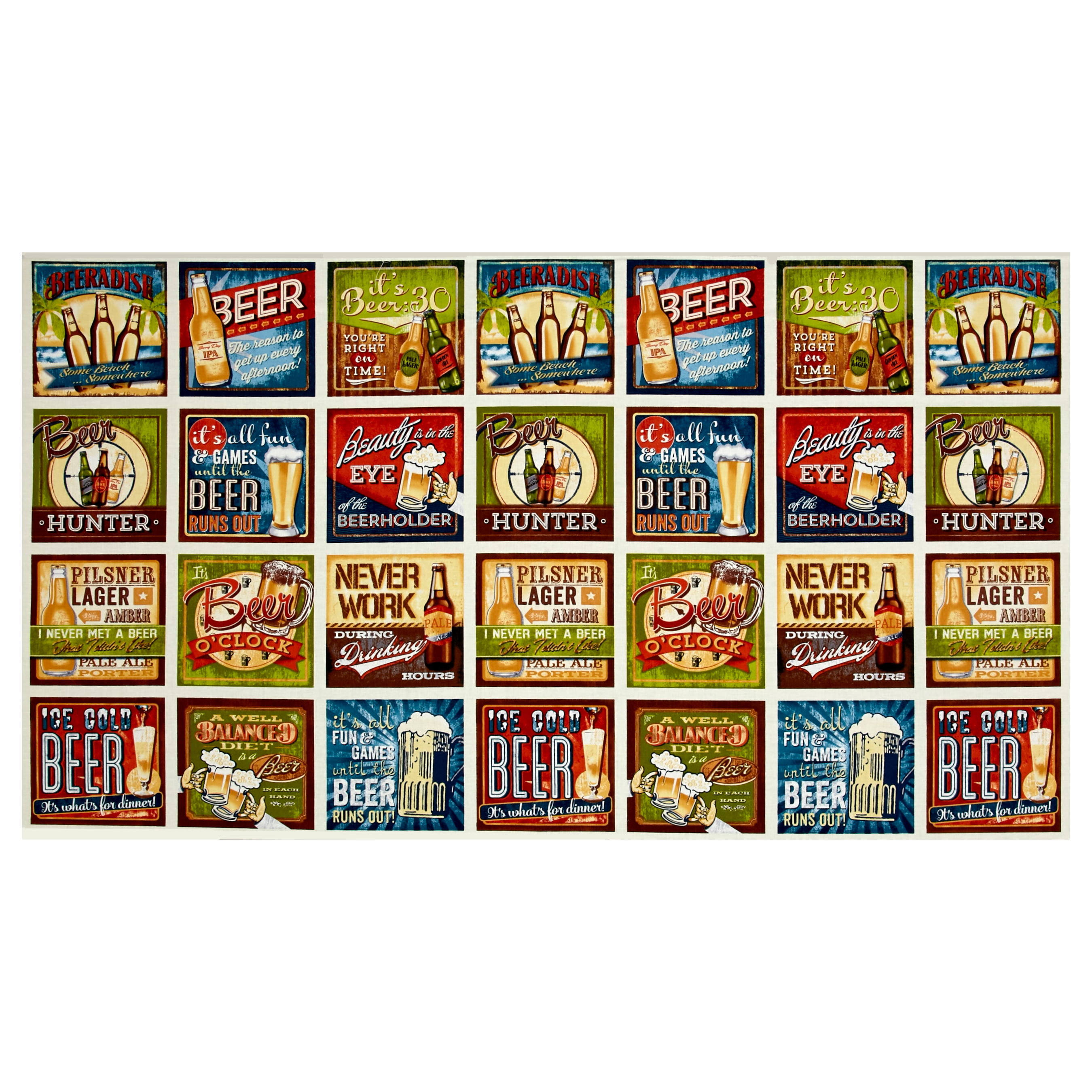 Image of Kaufman Cheers Beer Signs 24'' Panel Ivory Fabric