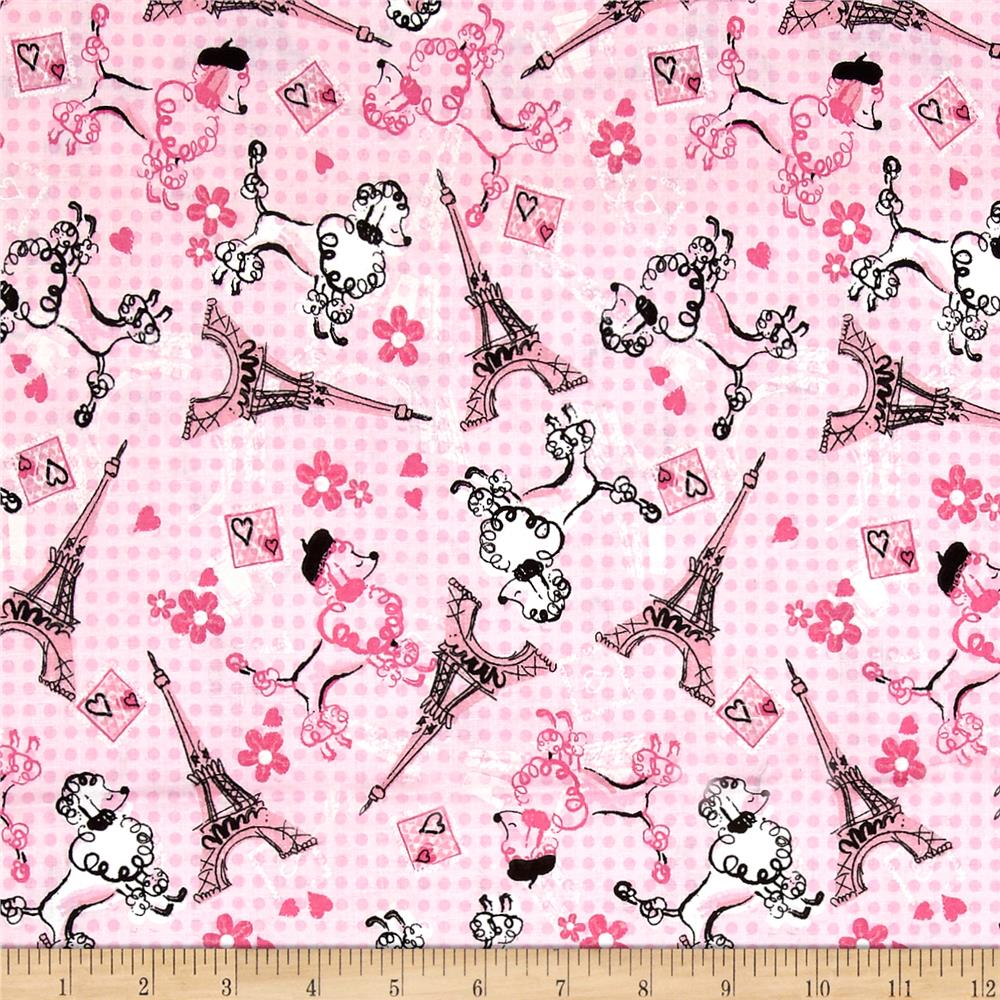 Paris eiffel tower poodle toss pink discount designer for Cloth material for sale