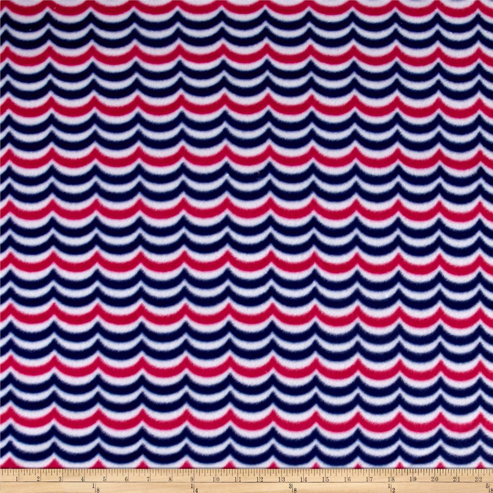 Sail Away Waves Fleece Navy/Pink Fabric By The Yard