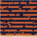 Crepe de Chine Star Stripe Orange/Navy
