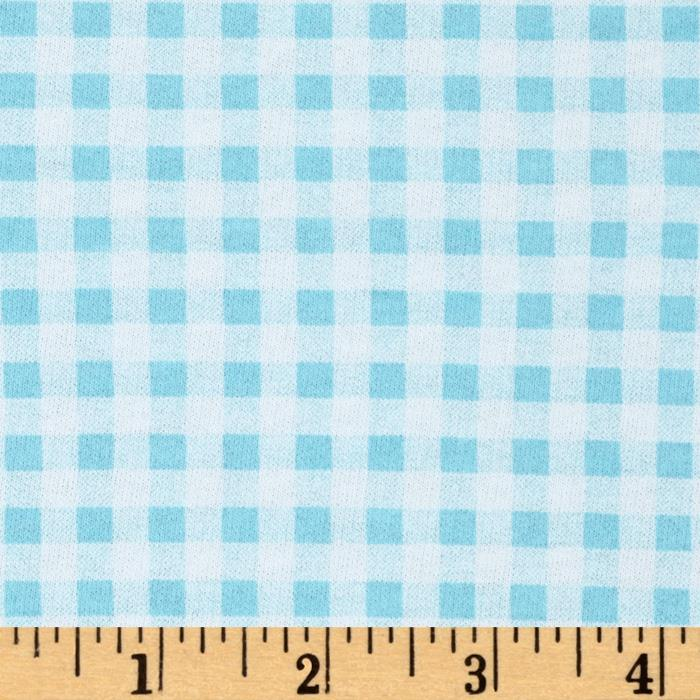 French Terry Gingham White/Aqua