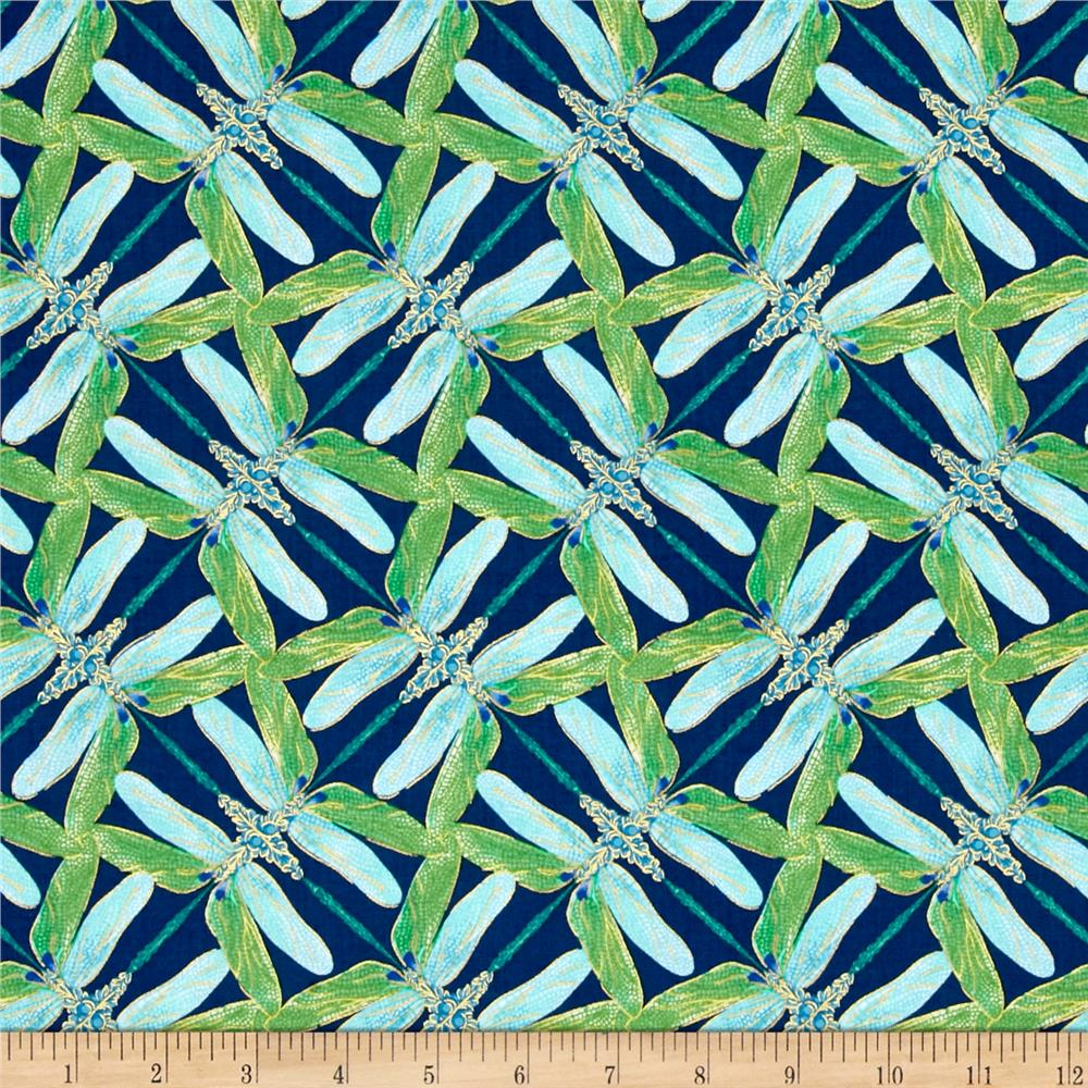 Kanvas Dance Of The Dragonfly Metallic Pinwheel Geo Navy/Aqua
