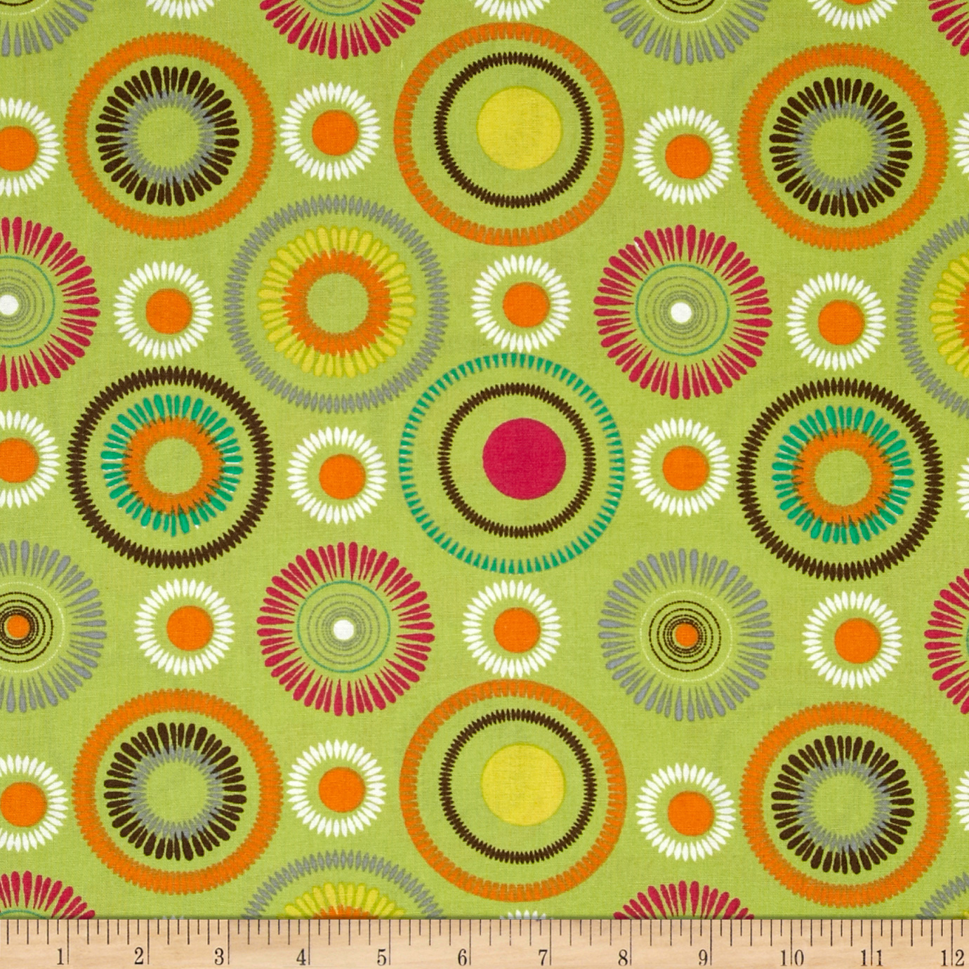 Poppy Delight Spiral Flowers Green Fabric
