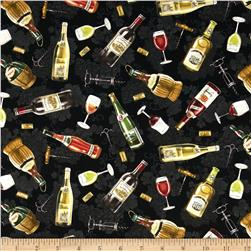 Italian Vineyard Tossed Wine Bottles Black Fabric