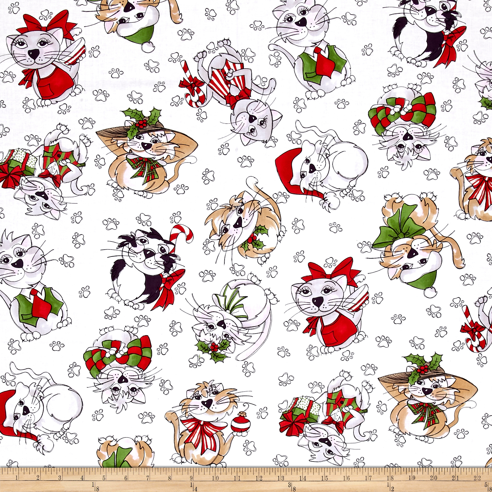 Image of Loralie Designs Kitty Kitty Christmas Blizzard White Fabric