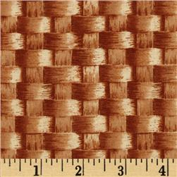 Farmer's Market Large Basket Weave Brown Fabric