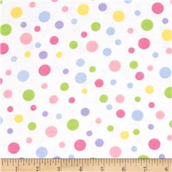 Alpine Flannel Basics Dots Pastel/White Fabric