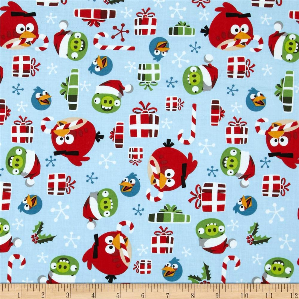 angry birds holly jolly christmas light blue discount designer fabric fabriccom - Christmas Angry Birds