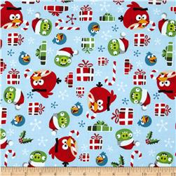 Angry Birds Holly Jolly Christmas Light Blue Fabric