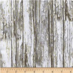 Timeless Treasures Country Christmas Metallic Wood Grain Grey