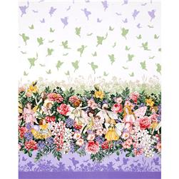 Michael Miller Flower Fairies Dreamland Dream Single Border Metallic Blossom