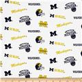 Collegiate Cotton Broadcloth University of Michigan White