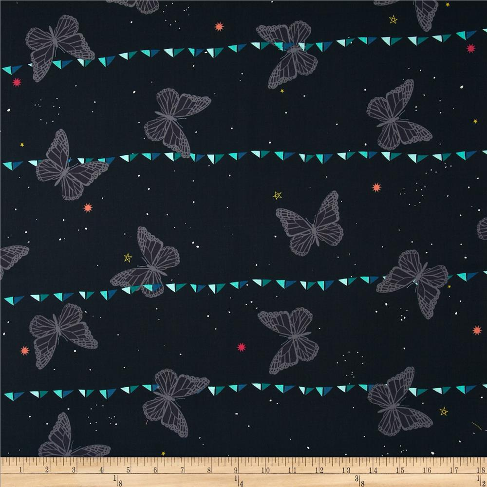 Cotton + Steel Moonlit Night Sky Butterfly Navy