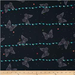 Cotton & Steel Moonlit Night Sky Butterfly Navy