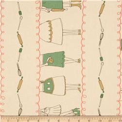 Kitschenette Repeating Stripe Green/Pink Fabric
