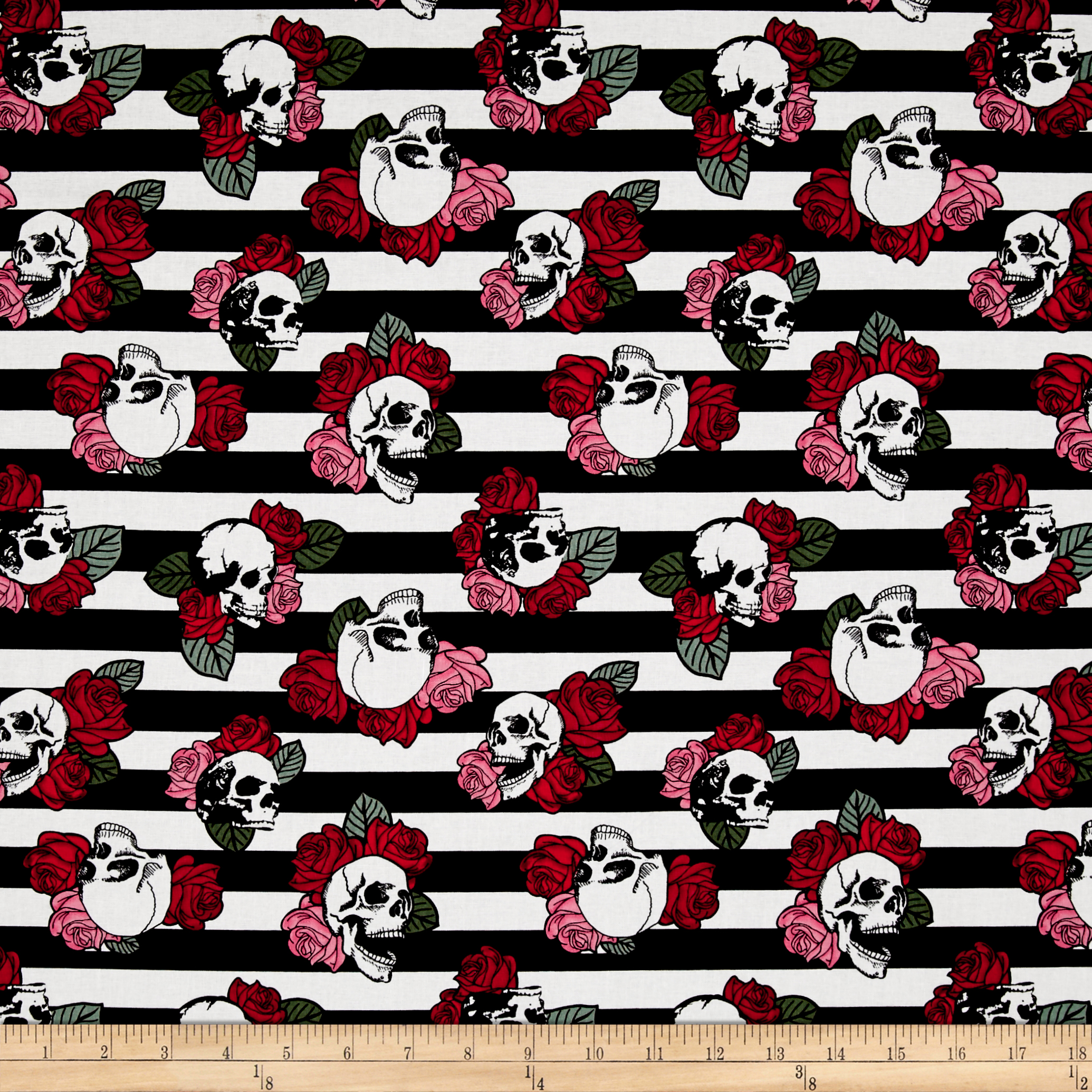 Punk Rock Punk Skulls and Roses Fabric by David in USA