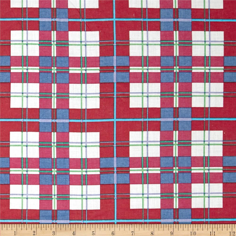 Cotton Plaid Lawn Red/Blue
