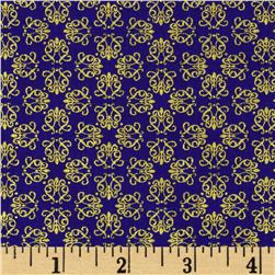 Timeless Treasures Palazzo Metallic Small Geo Blue Fabric