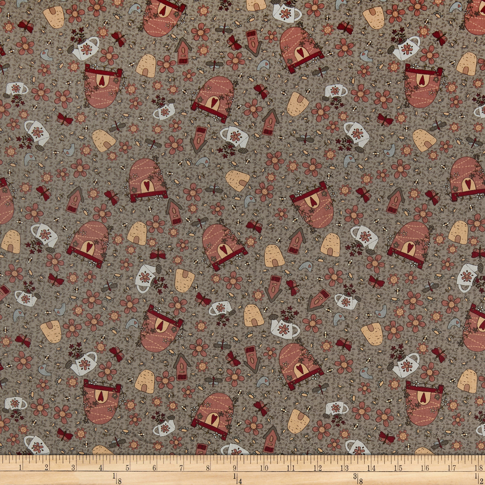 INOpets.com Anything for Pets Parents & Their Pets Lecien Sweet Garden Of Mine Garden Toss Grey Fabric