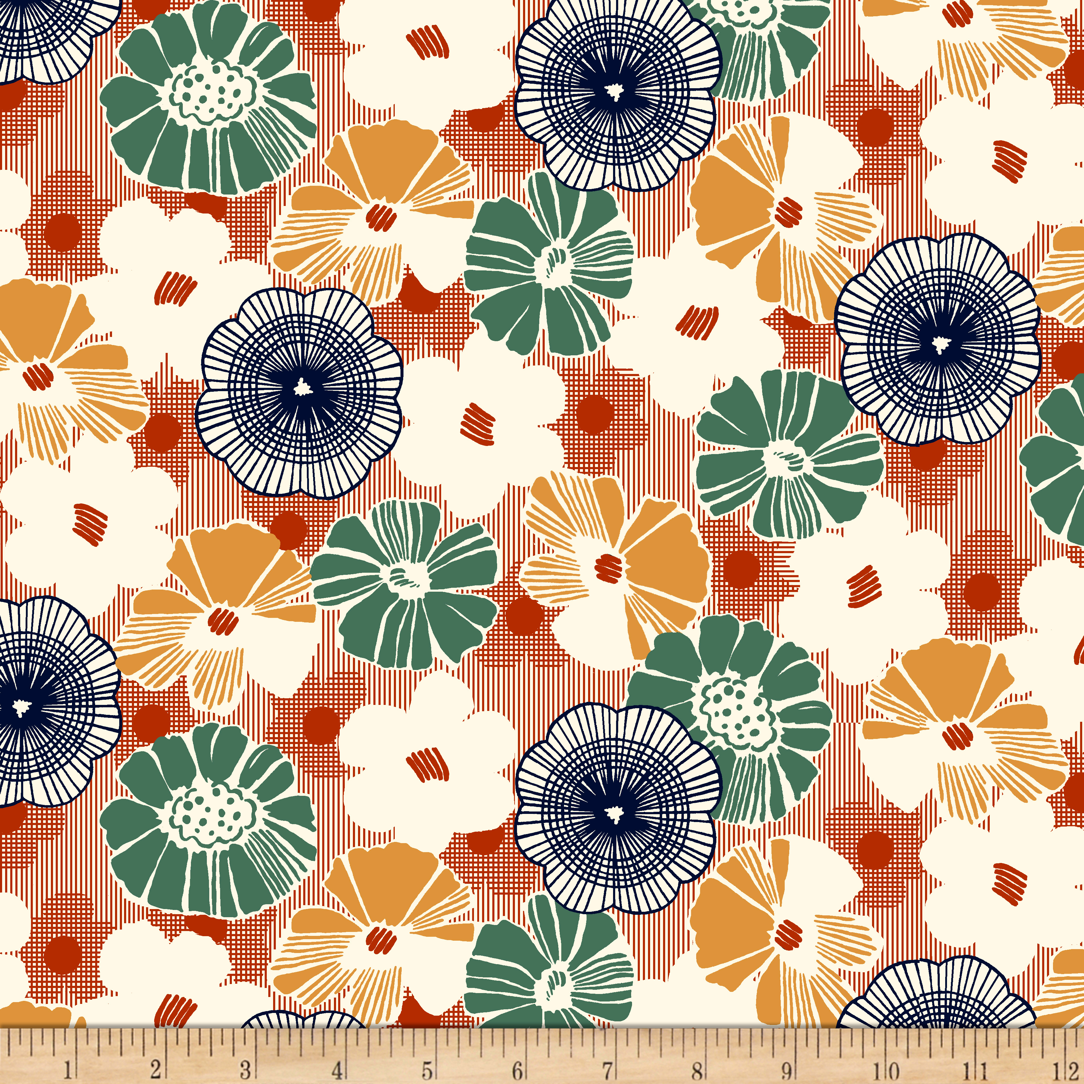 1930s House Dresses QT Fabrics Gretta 1930s Floral Terracotta $10.13 AT vintagedancer.com