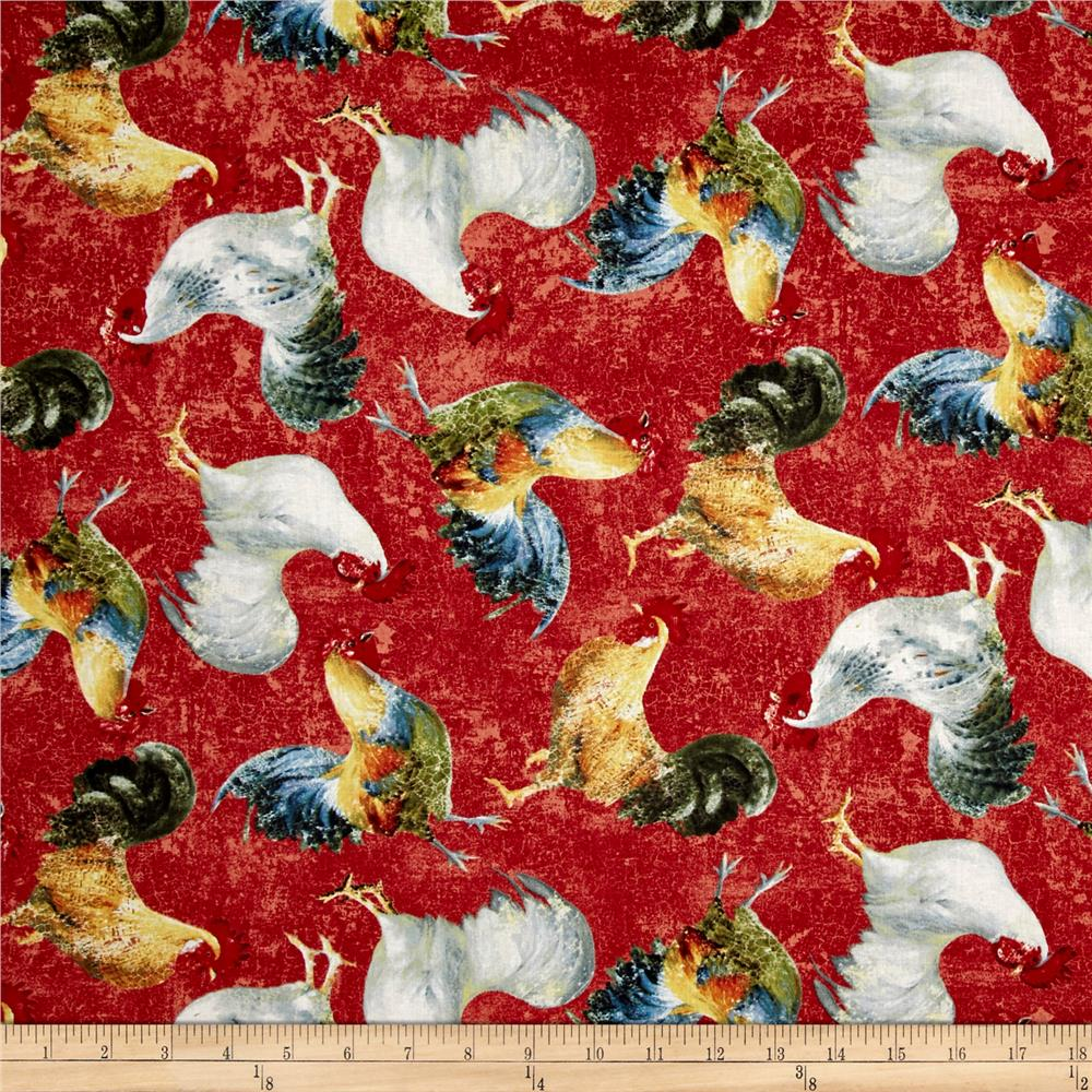 Early to Rise Roosters Allover Red Fabric