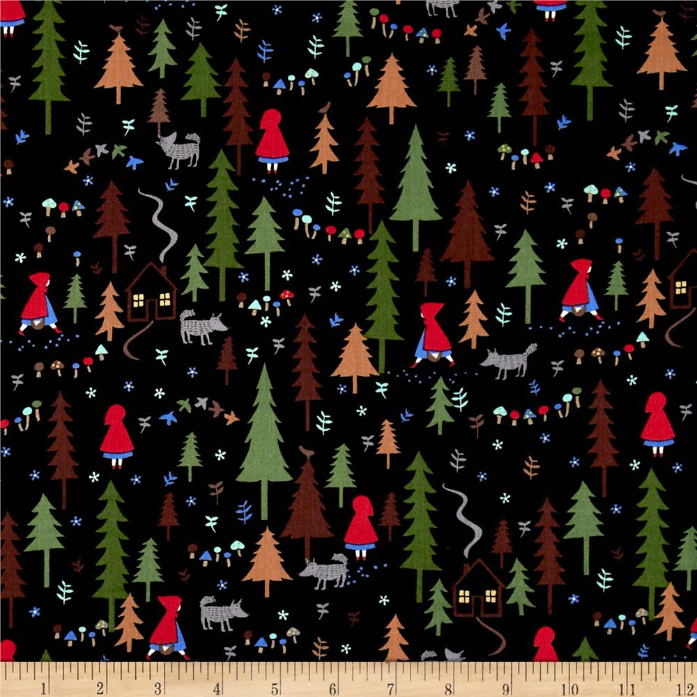 Timeless Treasures Little Red Riding Hood Forest Black