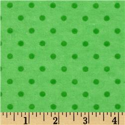 Aunt Polly's Flannel Small Polka Dots Lime/Green