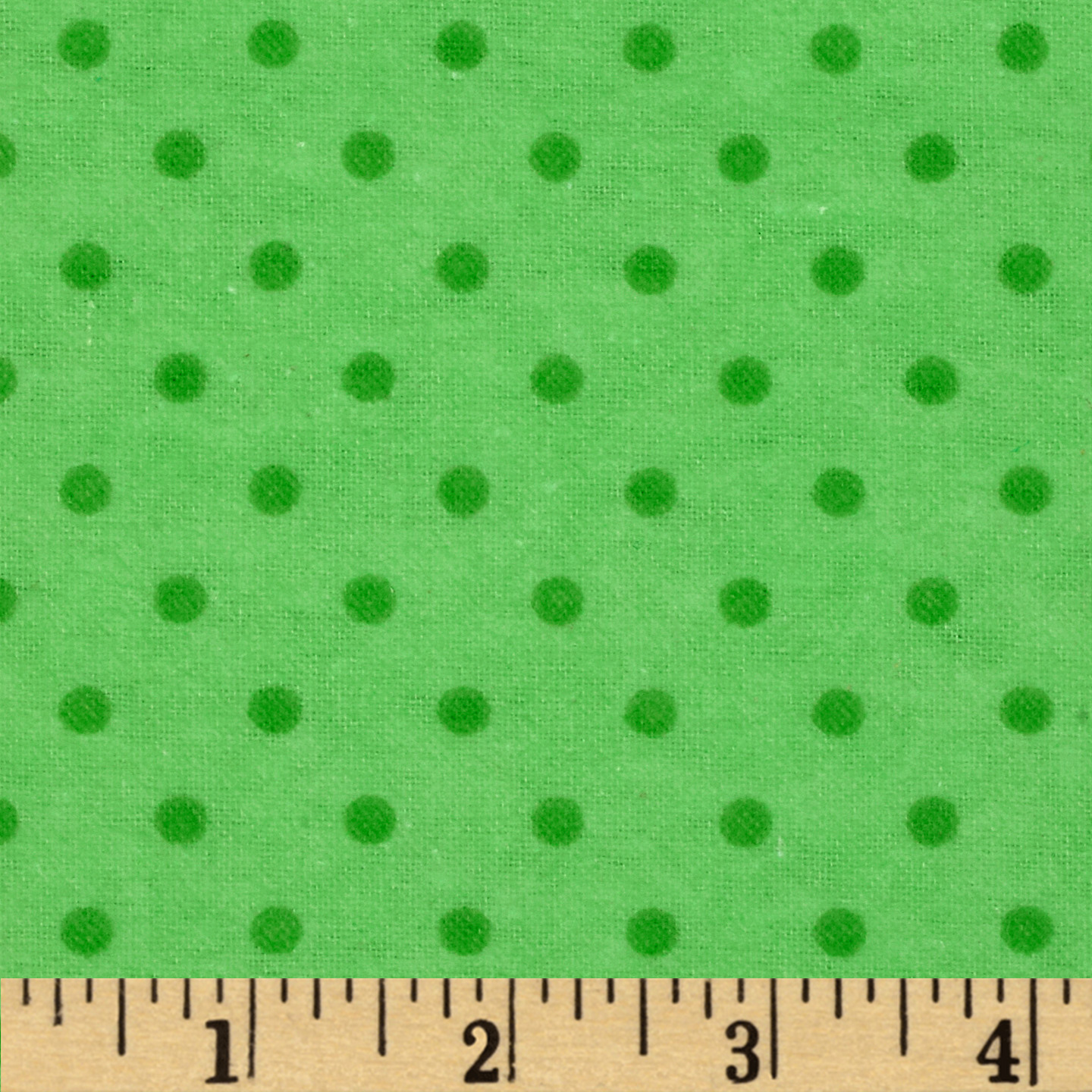 Aunt Polly's Flannel Small Polka Dots Lime/Green Fabric