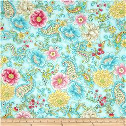 Timeless Treasures Love Main Floral Aqua