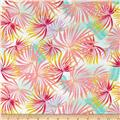 French Digital Tropical Leaf Print Viscose Challis Pink/Yellow/Green